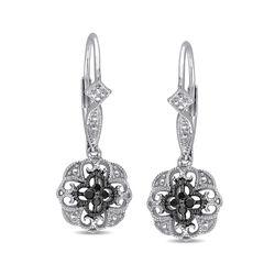Sterling Silver Milgrain Scroll Drop Earrings With Black Diamond Accents, , default