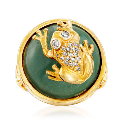 Italian Aventurine and .13 ct. t.w. CZ Frog Ring in 18kt Gold Over Sterling, , default