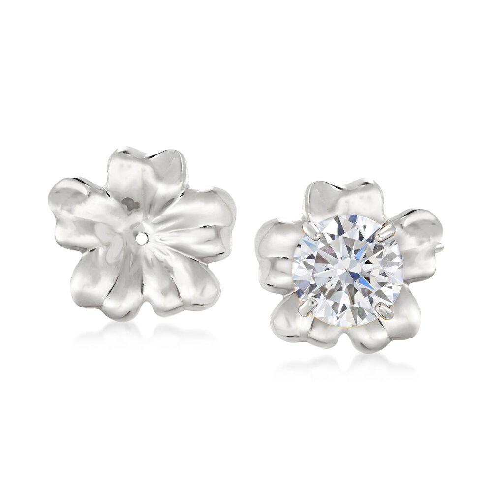 14kt White Gold Flower Petal Earring Jackets Default