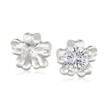 14kt White Gold Flower Petal Earring Jackets , , default