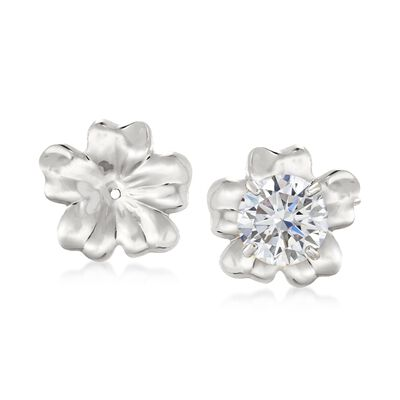 14kt White Gold Flower Petal Earring Jackets, , default