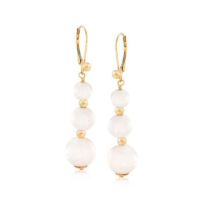 White Agate Bead Drop Earrings in 14kt Yellow Gold, , default