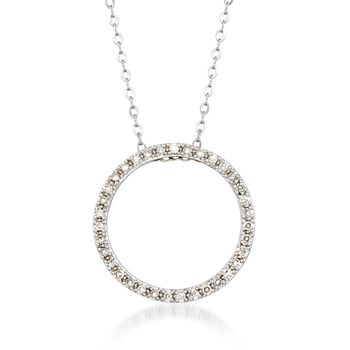 """.23 ct. t.w. Diamond Open Circle Necklace in 14kt White Gold. 18"""", , default"""