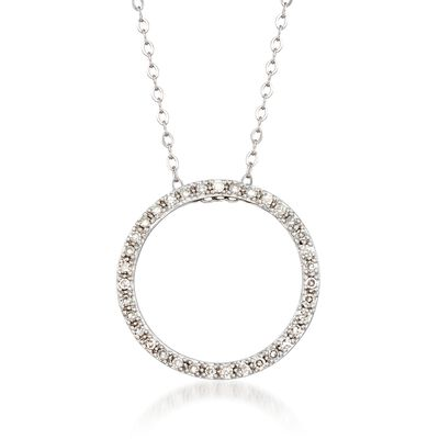 .23 ct. t.w. Diamond Open Circle Necklace in 14kt White Gold, , default