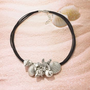 """Sterling Silver and Black Leather Starfish and Seashells Necklace. 18"""""""
