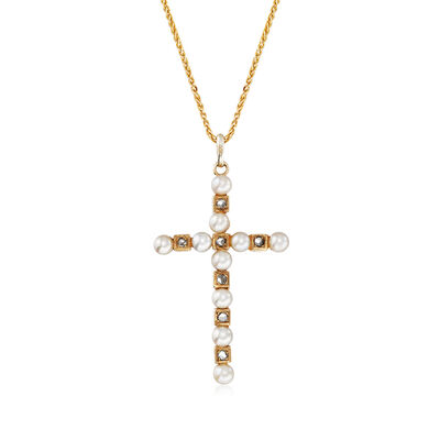 C. 1960 Vintage Cultured Pearl and .15 ct. t.w. Cross Pendant Necklace in 18kt Yellow Gold, , default