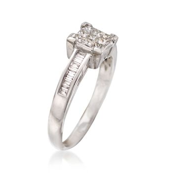 C. 1990 Vintage .65 ct. t.w. Baguette and Princess-Cut Diamond Ring in 18kt White Gold. Size 7.5, , default