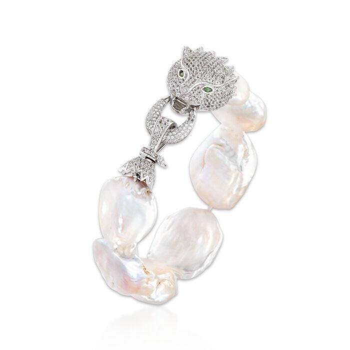 18-23mm Cultured Baroque Pearl and 3.50 ct. t.w. White Topaz Cougar Bracelet in Sterling Silver