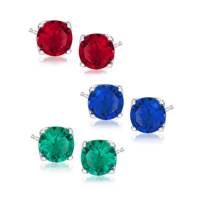6.00 ct. t.w. Simulated Multi-Gemstone Jewelry Set: Three Pairs of Stud Earrings, , default