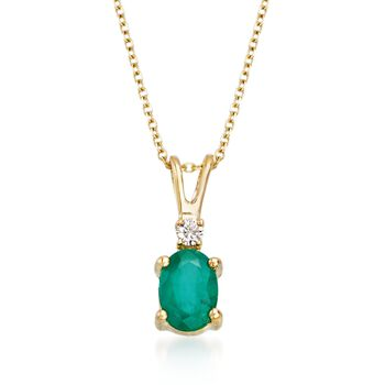 """.70 Carat Emerald Pendant Necklace With Diamond Accent in 18kt Yellow Gold. 16"""", , default"""