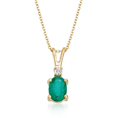 .70 Carat Emerald Pendant Necklace With Diamond Accent in 18kt Yellow Gold, , default