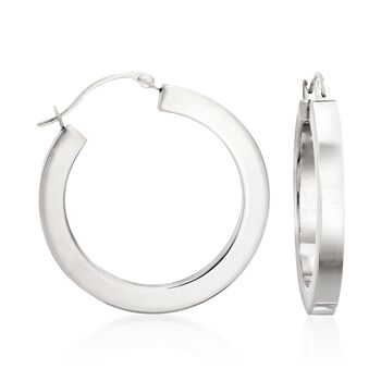 """Andiamo 14kt White Gold Hoop Earrings. 1"""", , default"""