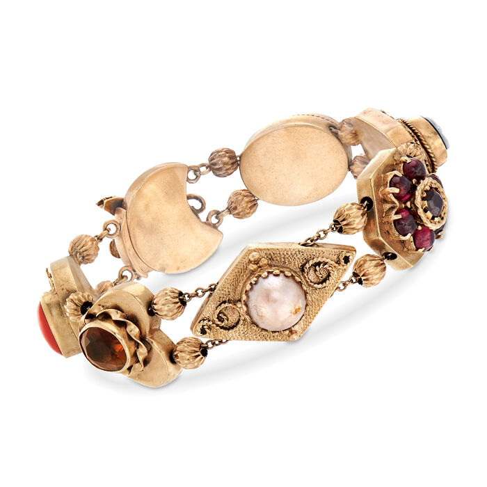 "C. 1960 Vintage 4.70 ct. t.w. Multi-Gemstone Bracelet in 14kt Yellow Gold . 7.75"", , default"
