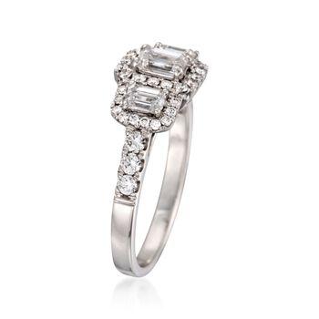 1.42 ct. t.w. Emerald-Cut Diamond Three-Stone Halo Ring in 14kt White Gold, , default