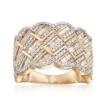 .75 ct. t.w. Diamond Scalloped Ring in 14kt Yellow Gold, , default