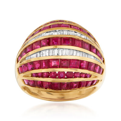 9.15 ct. t.w. Ruby and .34 ct. t.w. Diamond Dome Ring in 18kt Yellow Gold