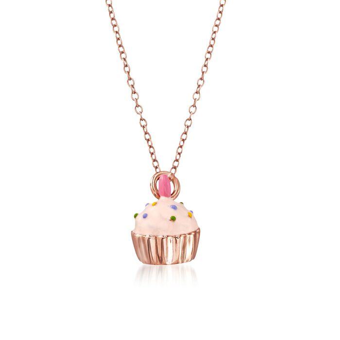 "Child's Multicolored Enamel Cupcake Pendant Necklace in 14kt Rose Gold Over Sterling. 14"", , default"