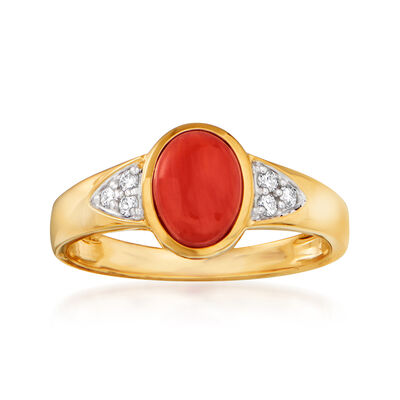 Coral Ring with Diamond Accents in 14kt Yellow Gold