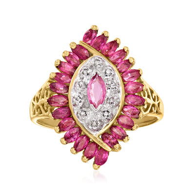 C. 1980 Vintage 1.45 ct. t.w. Ruby Ring with Diamond Accents in 10kt Yellow Gold