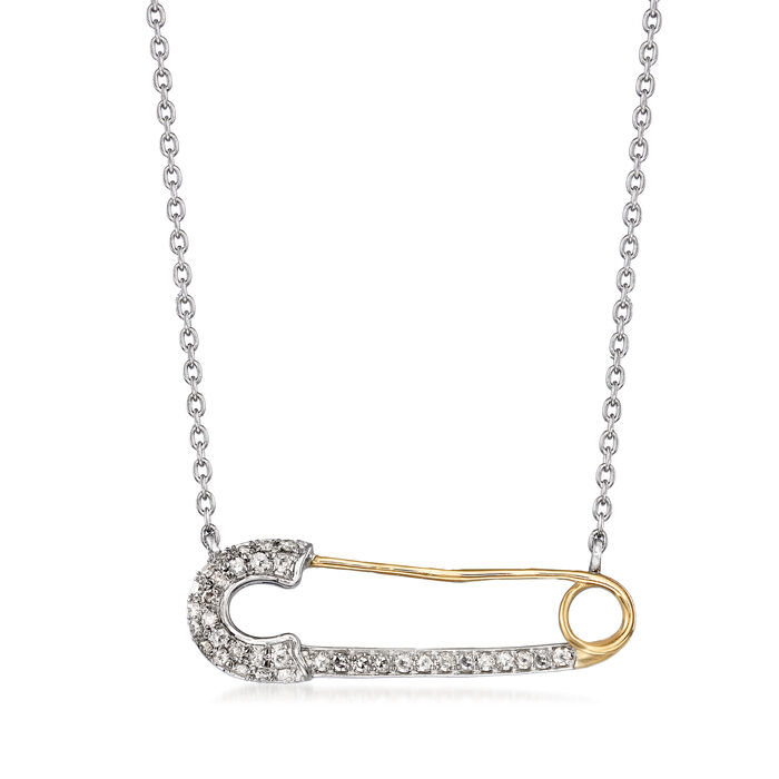 .21 ct. t.w. Diamond Safety Pin Necklace in Sterling Silver and 14kt Yellow Gold