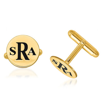 14kt Yellow Gold Circle Monogram Cuff Links with Black Enamel