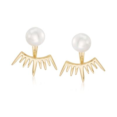8mm Shell Pearl Jewelry Set: Earrings and Spiked Front-Back Jackets in 18kt Gold Over Sterling, , default