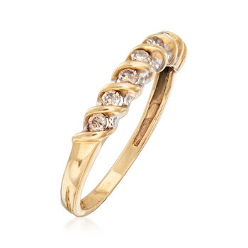 C. 1990 Vintage .25 ct. t.w. Champagne Diamond Ring in 10kt Yellow Gold. Size 7, , default