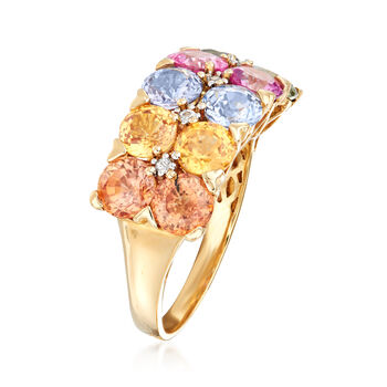 C. 1990 Vintage 6.08 ct. t.w. Multicolored Sapphire Double-Row Ring in 14kt Yellow Gold. Size 7, , default