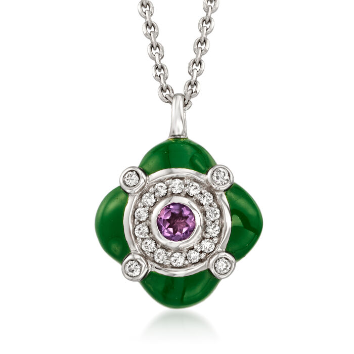 C. 1990 Vintage .10 Carat Amethyst, .13 ct. t.w. Diamond and Green Enamel Pendant Necklace in 18kt White Gold