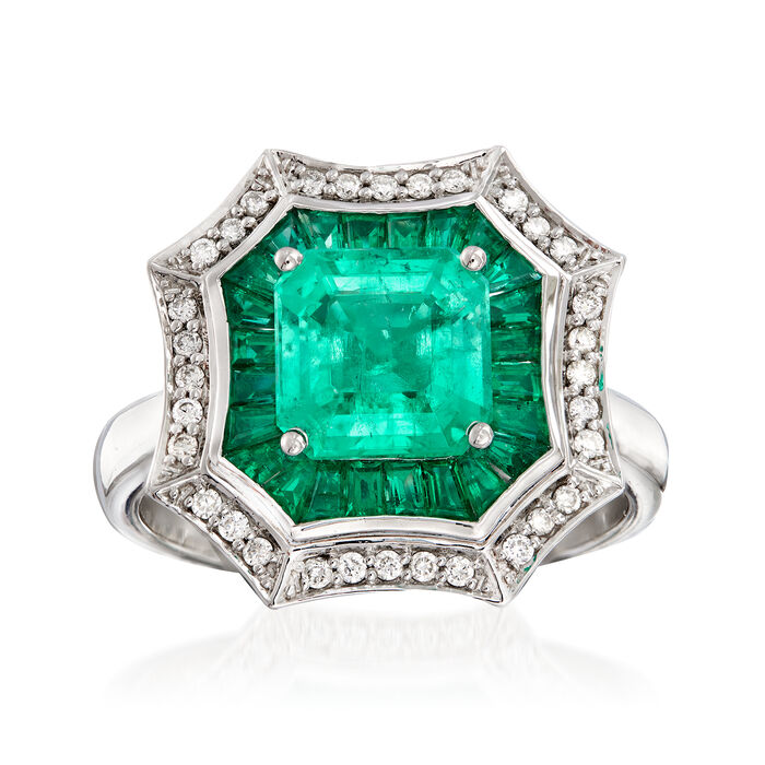 3.20 ct. t.w. Emerald and .17 ct. t.w. Diamond Ring in 14kt White Gold. Size 7