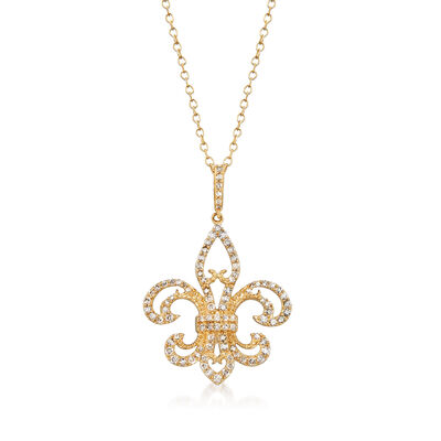 .50 ct. t.w. Diamond Fleur-De-Lis Pendant Necklace in 14kt Yellow Gold