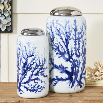 Set of 2 Blue Coral Porcelain Jars, , default