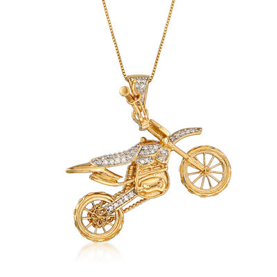 .30 ct. t.w. Diamond Motorcycle Pendant Necklace in 18kt Gold Over Sterling, , default