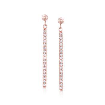.30 ct. t.w. CZ Linear Drop Earrings in 14kt Rose Gold Over Sterling, , default