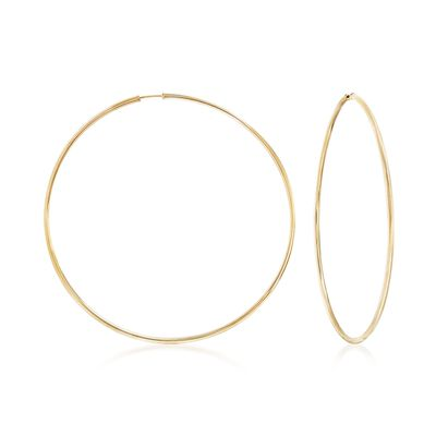 2mm 14kt Yellow Gold Endless Hoop Earrings, , default