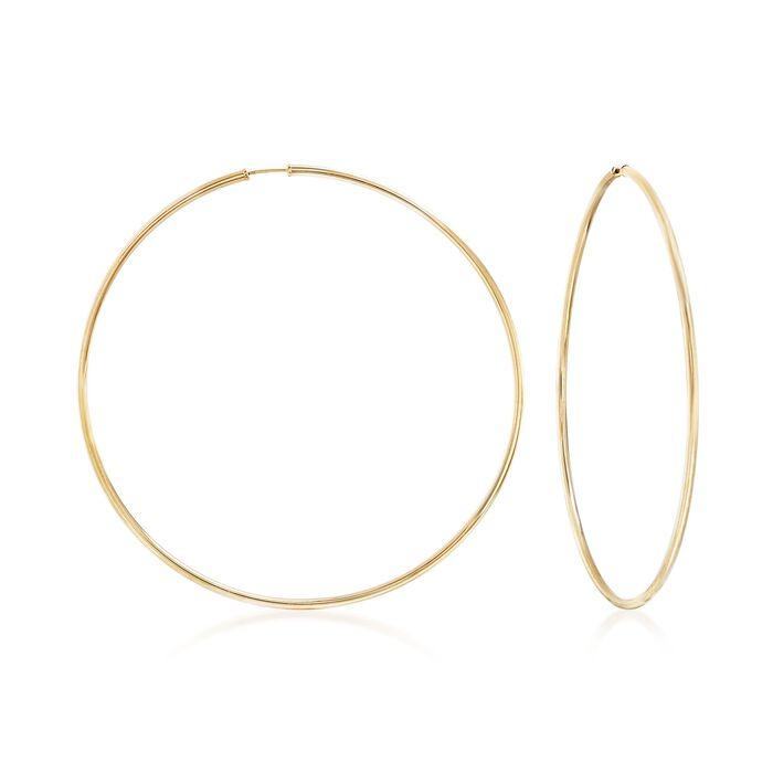 "2mm 14kt Yellow Gold Endless Hoop Earrings. 3 1/8"", , default"