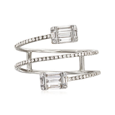 .47 ct. t.w. Baguette and Round Diamond Wrap Ring in 18kt White Gold, , default