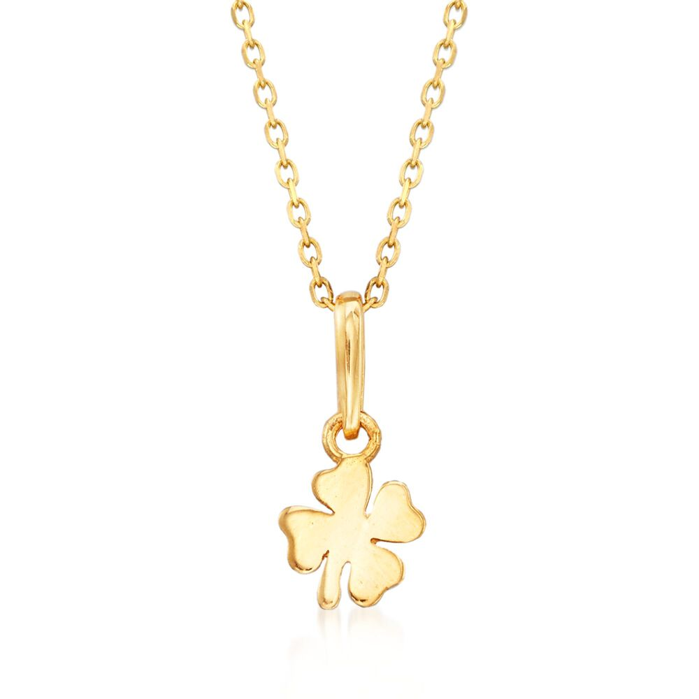 """b87191dd4 18kt Yellow Gold Small Four-Leaf Clover Pendant Necklace. 18"""", ,  default"""