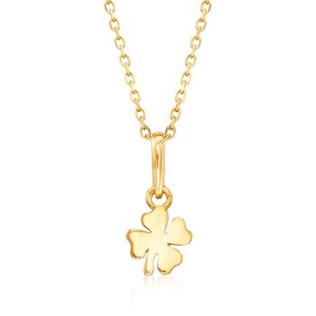 """18kt Yellow Gold Small Four-Leaf Clover Pendant Necklace. 18"""", , default"""
