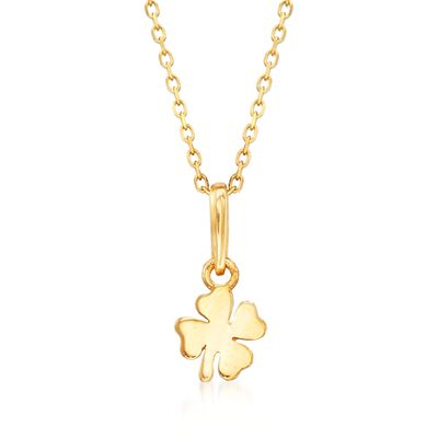 18kt Yellow Gold Small Four-Leaf Clover Pendant Necklace, , default