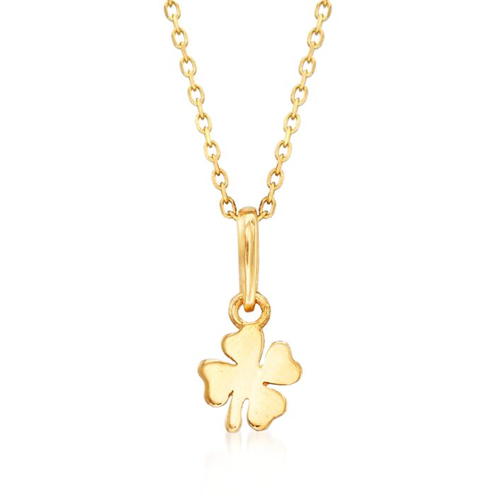 "18kt Yellow Gold Small Four-Leaf Clover Pendant Necklace. 18"", , default"