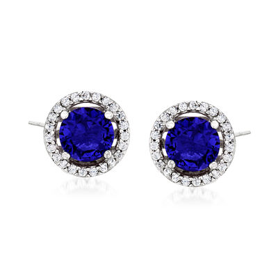 1.60 ct. t.w. Simulated Sapphire and .20 ct. t.w. CZ Earrings in Sterling Silver, , default