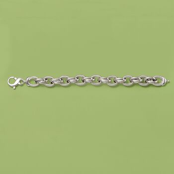 Italian Sterling Silver Textured and Polished Oval-Link Bracelet