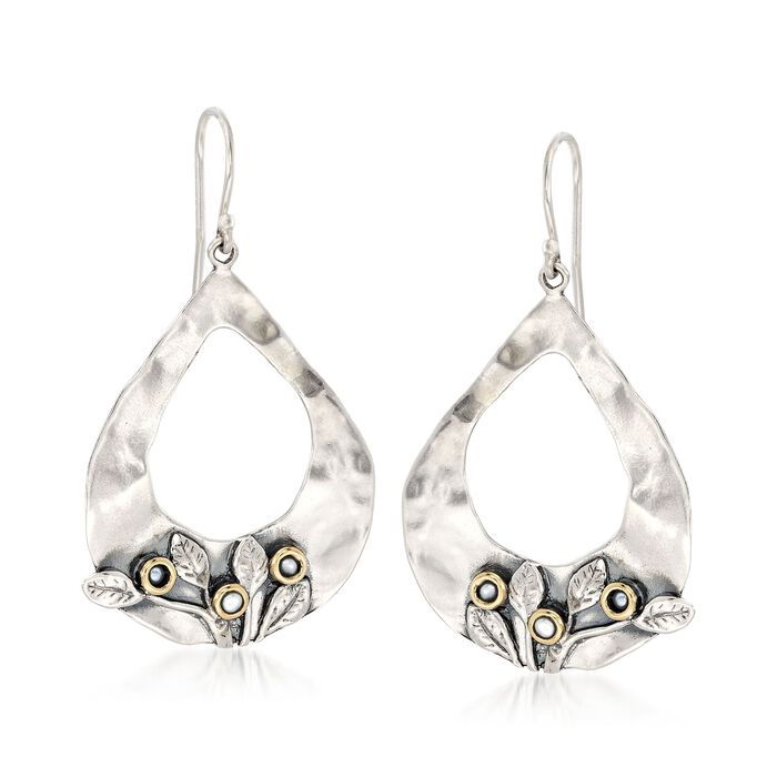 Sterling Silver and 14kt Yellow Gold Open Teardrop Floral Earrings with Cultured Pearls