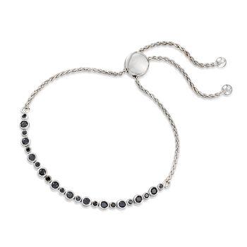 1.00 ct. t.w. Bezel-Set Black Diamond Bolo Bracelet in Sterling Silver , , default