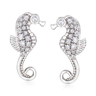 .55 ct. t.w. CZ Seahorse Earrings in Sterling Silver, , default