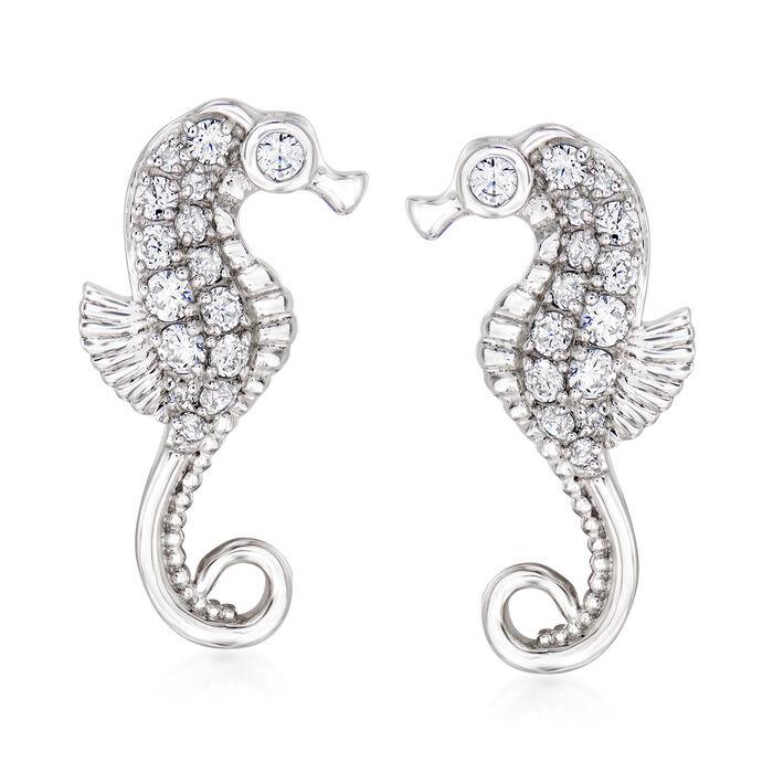 .55 ct. t.w. CZ Seahorse Earrings in Sterling Silver