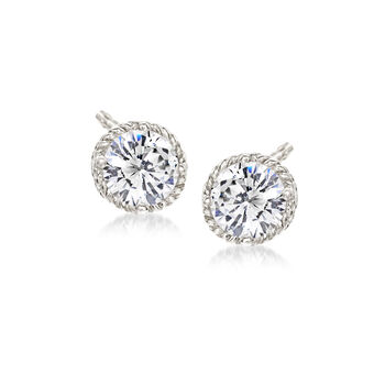 4.60 ct. t.w. CZ Jewelry Set: Three Pairs of Stud Earrings in Sterling Silver