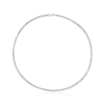 2.5mm Sterling Silver Round Omega Necklace, , default