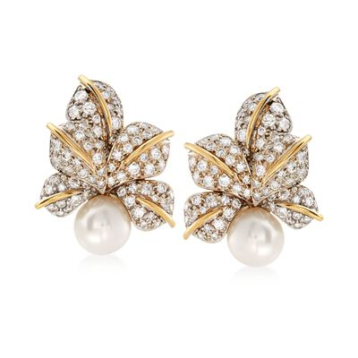 C. 1980 Vintage 10mm Cultured Pearl and 3.00 ct. t.w. Diamond Floral Clip-On Earrings in 18kt Two-Tone Gold, , default